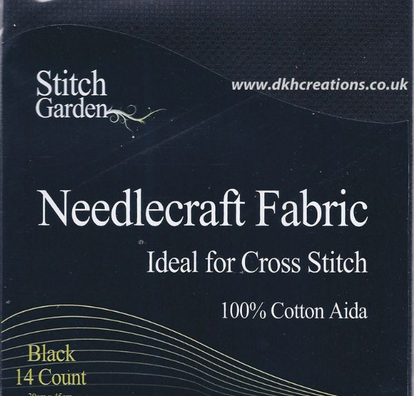Stitch Garden  Black 14 Count Aida Fabric